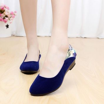 Women Wedge Heels Shoes Platform Work Single Shoes Casual Ladies Pumps Women Office Shoes