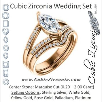 CZ Wedding Set, featuring The Lyla Ann engagement ring (Customizable Marquise Cut Design with Wide Double-Pavé Band)