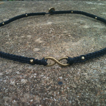Father's Day Men's Jewelry Leather Knotted Infinity Necklace Bronze or Silver You Choose Color