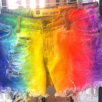 RAINBOW TIE-DYE Dyed Denim Low Rise Shorts