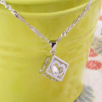 Love Cube Sterling Silver Pendant Necklace