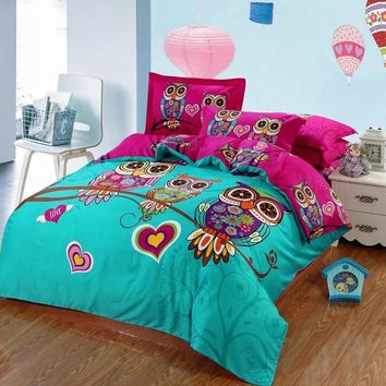 Owl bedding set cartoon bed linen duvet cover bed sheet pillowcases boys/girls bedclothes king queen twin size fast free ship