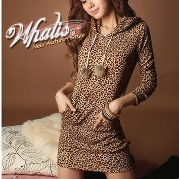 2013 Women's Sexy Leopard Mini Dress Sweatshirts Hoodie double breasted Pullover Tops autumn and winter clothes = 1919924484