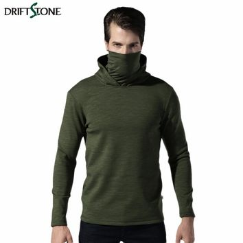 New Autumn Winter Men Tactical Fleece Hoodies Sweatshirt  Inner Layer Thicken Velvet Warm Sweatshirts Men Turtleneck Pullover