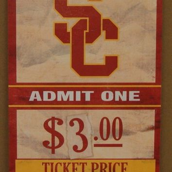 "USC TROJANS GAME TICKET ADMIT ONE GO TROJANS WOOD SIGN 6""X12'' NEW WINCRAFT"