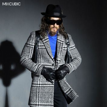 MIXCUBIC British style Houndstooth long section woolen windbreaker jackets men casual slim grid wool windbreaker men M-2XL
