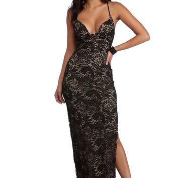 Jamie Black Two Tone Lace Dress