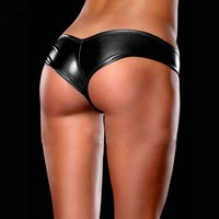 snowshine #1501  Sexy Lingerie Ladies Night Games Glossy Leather Shorts Underwear Black free shipping