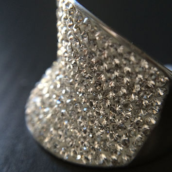 White Crystal Statement Ring - Size 9