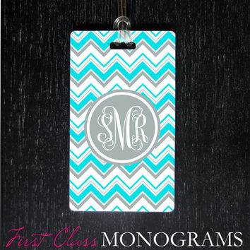 Tiffany Blue & Gray Chevron Monogram Luggage Tag, diaper bag tag, golf bag tag,backpack tag custom personalized aqua turquoise LTM-114