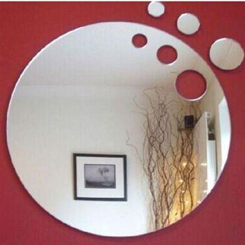 DCCKFS2 3pcs 15cm cut out round wall decorative sticker ,3D crystal mirror wall sticker,2pcs/lot