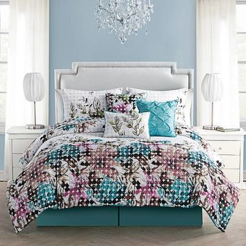 VCNY Floral Dot Comforter Set in Blue/White