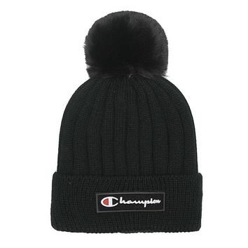 Champion Embroidery Women Men Beanies Winter Knit Hat Cap