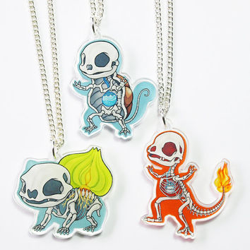 Pokemon Specimen Acrylic Necklaces: Bulbasaur, Charmander, Squirtle