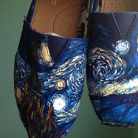 Hand Painted Starry Night Toms Shoes by DachiInfinity on Etsy