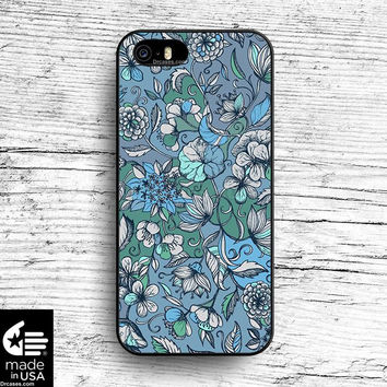 Hand drawn Floral in Blue, Grey & Mint Green Case for iphone 5 5s 6 case, samsung, ipod, HTC, Xperia, Nexus, LG, iPad Cases