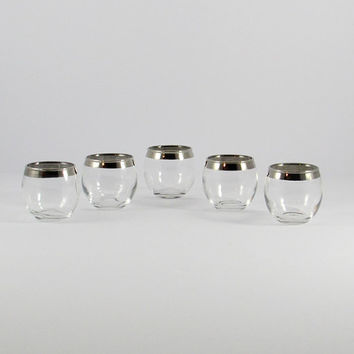 Vintage Silver Band, Mad Men, Roly Poly Shot Glasses, Mid-Century Barware, Set of Five