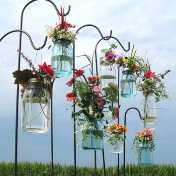 Wedding Isle Mason Jar DIY Hanging Flower Vases or Lanterns 8 Gold or Silver Hanging Flower Lids, Wedding, Party, Outdoor Event, No Jars