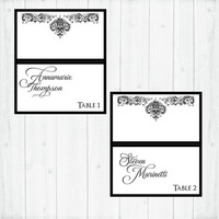 Wedding place cards, antique damask, custom printed with guest names, table tent -  25