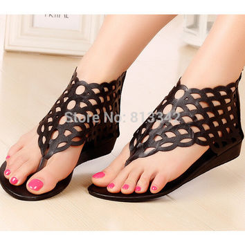 New 2017 Beach Rome Style Summer Women's Sandal Fashion of Cut Outs Sweet Wedges