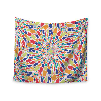 "Miranda Mol ""Flourishing Blue"" Multicolor Geometric Wall Tapestry"