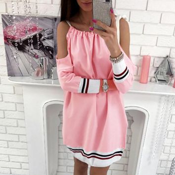 Off-Shoulder knot stripe long sleeve dress