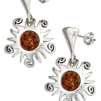 STERLING SILVER POST DANGLE EARRINGS WITH SUN AND BALTIC AMBER