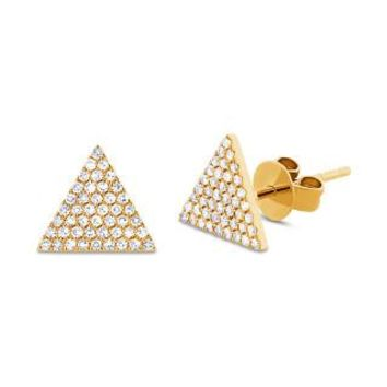 0.24ct 14k Yellow Gold Diamond Pave Triangle Earring