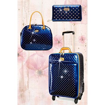 Starz Art Retro 3PC Set | Luxury Women Overnight Bag Set with Spinning Wheels