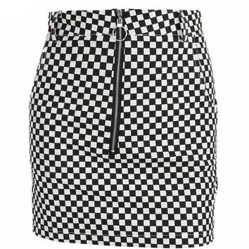 Retro Checkerboard High Waist Mini Skirt
