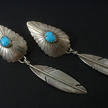 Vintage Native American NAVAJO Morenci Turquoise EARRINGS Sterling Silver LONG Feather Dangles Handmade Pierced Ears c.1970s