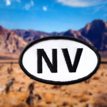 "Nevada NV Patch - Iron or Sew On - 2"" x 3.5"" - Embroidered Oval Appliqué - The Silver State - Black White Hat Bag Accessory Handmade USA"