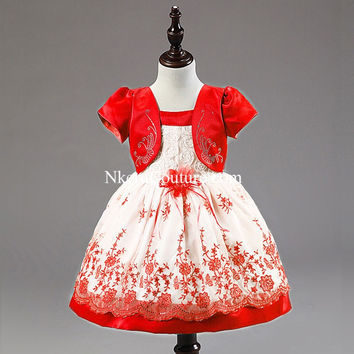 Short Baby Girl Baptism Floral Clothing Dresses For Girls 3 Months - 5 Years Old Birthday Party Christening Dress AD776
