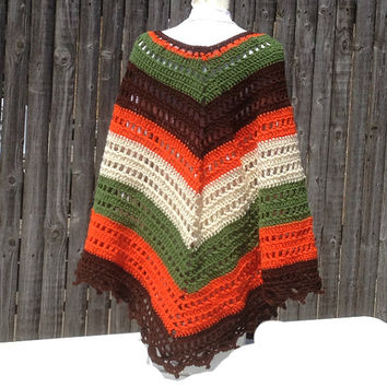 Poncho Shawl Hand Crocheted Wrap Hippie Bogo Poncho Retro Vintage Ready to Ship