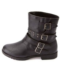 Bamboo Studded & Belted Motorcycle Ankle Boots - Black