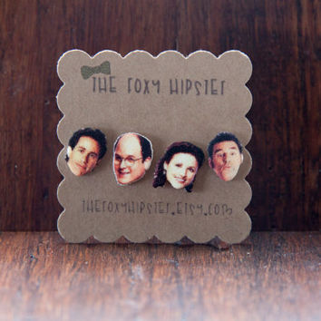 Mix and Match Seinfeld Stud Earrings,  gift idea, cool jewelry, unique, funky, george costanza, kramer, jerry seinfeld, elaine