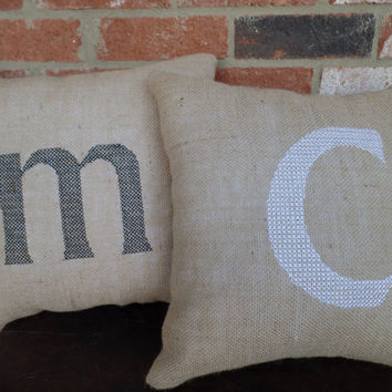 "Embroidered Burlap pillow , Personalized  pillow, decorative pillow, 15"" x 15"" , choice of colors, graduation gift"
