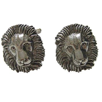 Silver Toned Textured Lion Head Pendant Cufflinks