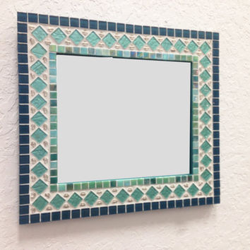 Aqua White Silver Mixed Media Mosaic Wall Mirror -- ON SALE