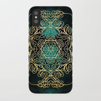 Gold & Dark Mandala iPhone Case by Tanyadraws