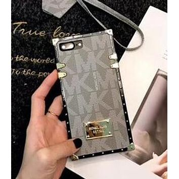 MK MICHAEL KORS Popular Women Men Personality Mobile Phone Cover Case For iphone 6 6s 6plus 6s-plus 7 7plus 8 8plus X Grey