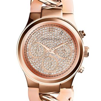 Women's Michael Kors 'Runway' Pave Dial Chronograph Link Bracelet Watch, 38mm - Rose Gold/ Blush