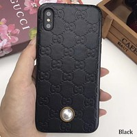 GUCCI tide brand simple solid color iPhone7plus female mobile phone case cover Black