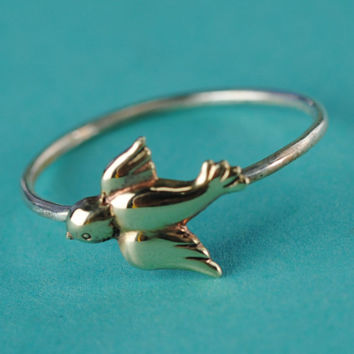 Sparrow Stacking Ring in Brass and Sterling Silver - Bird Ring