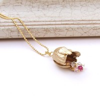1+1,Gold vintage necklace, floral Pendant, Tulip Necklace, Crystal Necklace, Romantic Necklace, Bronze Flower Necklace