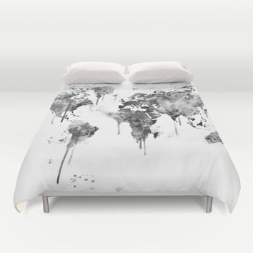 World Map Duvet Cover by MonnPrint
