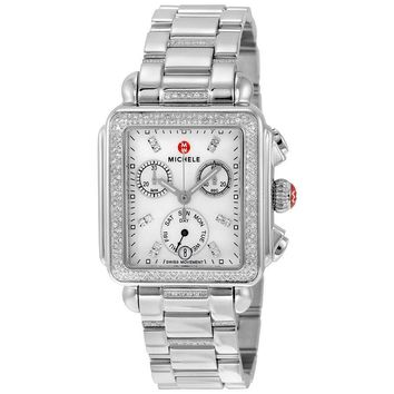Michele Signature Deco Diamond Chronograph Mother of Pearl Ladies Watch
