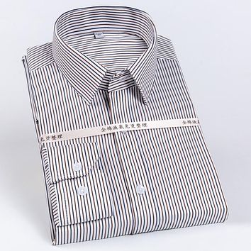Men's 100% Cotton Standard-fit Dress Shirts Button-Collar Striped/solid Easy Care Gingham Shirt Formal Business Male Clothing