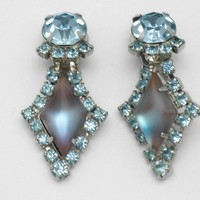 SAPHIRET Vintage Kite Stone Glass Rhinestone Earrings RARE