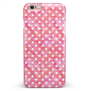 White Polka Dots over Pink Watercolor iPhone 6/6s or 6/6s Plus INK-Fuzed Case